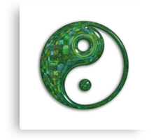 Glassy Green Yin Yang Symbol Canvas Print