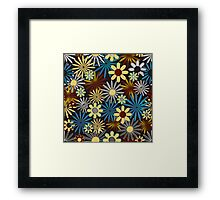 Blue and Yellow Daisies on Brown Framed Print