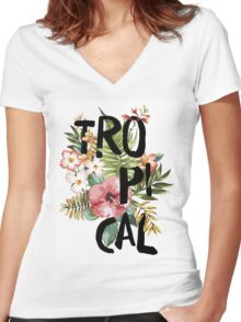 Tropical I Women's Fitted V-Neck T-Shirt