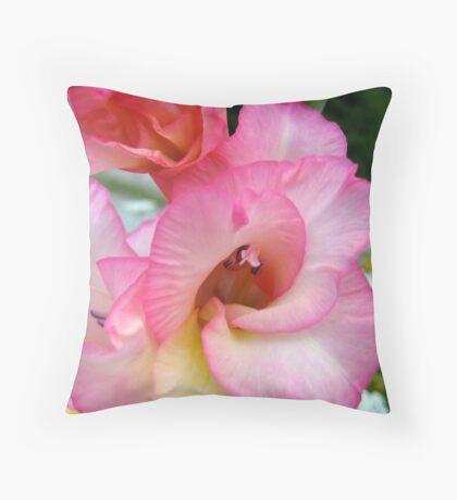 Macro of Pink Flower Throw Pillow