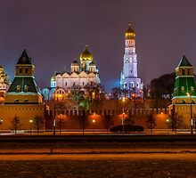 Moscow Kremlin cathedrals at night by luckypixel