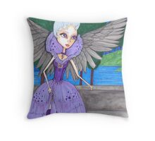 Big eyes purple Angel art Throw Pillow