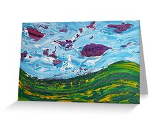 Irish Landscape Abstract with Purple Clouds Greeting Card