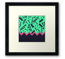 Neon Retro 80's Squiggly Pattern Zigzag Framed Print