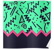 Neon Retro 80's Squiggly Pattern Zigzag Poster