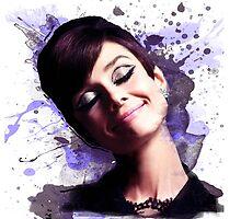 Audrey Hepburn watercolor digital by MissClaraBow