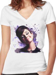 Audrey Hepburn watercolor digital Women's Fitted V-Neck T-Shirt