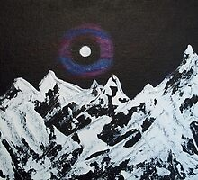 Halo Moon over Snowy Mountains by hollycannell