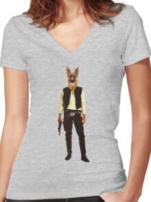Han Solo Star Wars Dog Women's Fitted V-Neck T-Shirt