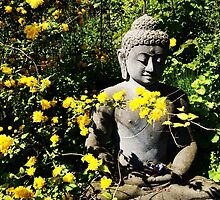 Buddha and Yellow Flowers by HeklaHekla