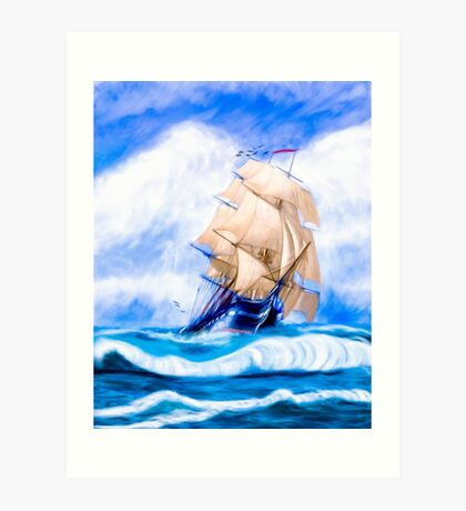 Old Ironsides - The Historic USS Constitution At Sea Art Print