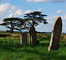 Grave stones and view from Easton Maudit church by brittle1906