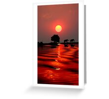 SUNSET WITH ELEPHANTS - BOTSWANA Greeting Card