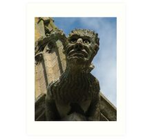 Gargoyle on Easton Maudit church spire Art Print