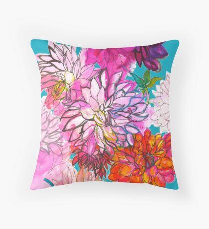 Garden of Dahlias Throw Pillow
