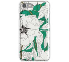 Green Peonies iPhone Case/Skin