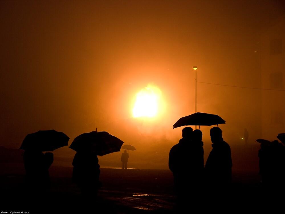 fireworks in the fog by Andrea Rapisarda