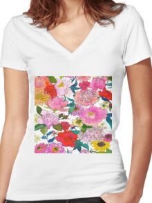 Peonies & Roses Women's Fitted V-Neck T-Shirt