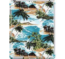 Diamond Head Scenic Hawaiian Aloha Shirt Print - Vintage Colorway iPad Case/Skin