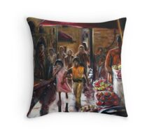 Street Market Throw Pillow
