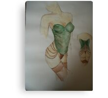 green corset Canvas Print