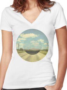 Open Road Collage Women's Fitted V-Neck T-Shirt