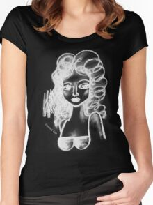 Lip Stick Girl in White Tshirt Women's Fitted Scoop T-Shirt