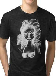 Lip Stick Girl in White Tshirt Tri-blend T-Shirt