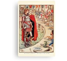 King Arthur's Knights - The Tale Retold for Boys and Girls by Sir Thomas Malory, Illustrated by Walter Crane 299 - Sir Galahad is Brought to the Court of King Arthur Canvas Print
