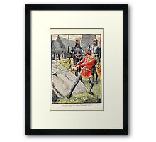 King Arthur's Knights - The Tale Retold for Boys and Girls by Sir Thomas Malory, Illustrated by Walter Crane 27 - Arthur Draws the Sword from the Stone Framed Print