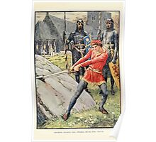 King Arthur's Knights - The Tale Retold for Boys and Girls by Sir Thomas Malory, Illustrated by Walter Crane 27 - Arthur Draws the Sword from the Stone Poster