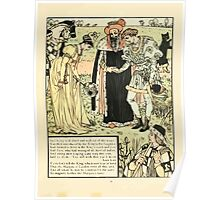 Cinderella Picture Book containing Cinderella, Puss in Boots, and Valentine and Orson Illustrated by Walter Crane 1911 35 - Introduced by the King to his Daughter Poster