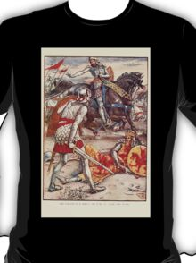King Arthur's Knights - The Tale Retold for Boys and Girls by Sir Thomas Malory, Illustrated by Walter Crane 363 - Sir Lancelot Forbids Sir Born to Slay the King T-Shirt