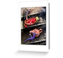 Spent Cactus Flowers With Mexican Lizards Greeting Card