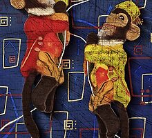 Monkey See, Monkey Do: Mid Century Modern Monkey a by Alma Lee