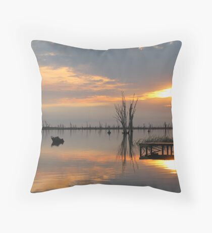 Sunrise Mirrored in Lake Mulwala Throw Pillow