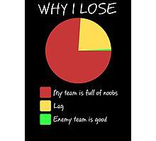Why I Lose - Gaming Humor T Shirt Photographic Print
