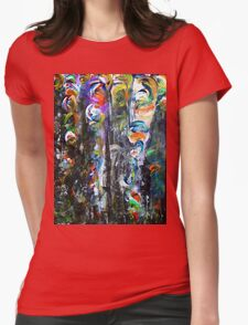 Whirling Petals in a Dark Forest Womens Fitted T-Shirt