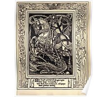Spenser's Faerie queene A poem in six books with the fragment Mutabilitie Ed by Thomas J Wise, pictured by Walter Crane 1895 V1 339 - The Knight with that Old Dragon Fights Poster