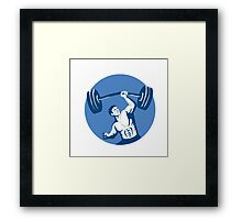Strongman Lifting Barbell One Hand Stencil Framed Print