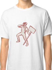 Protester Activist Union Worker Shouting Placard Etching Classic T-Shirt