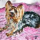 yorkshire terrier art painting by derekmccrea