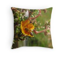 Bee sipping nectar Throw Pillow