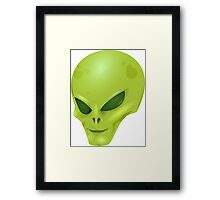 Green Alien Face, Space Creature Framed Print