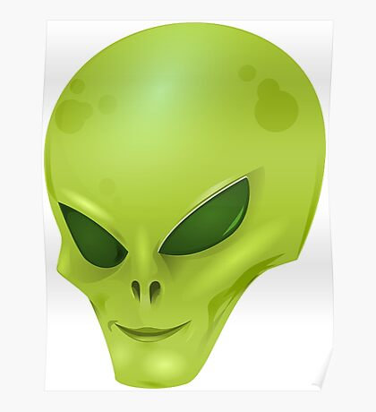 Green Alien Face, Space Creature Poster