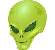 Green Alien Face, Space Creature Photographic Print