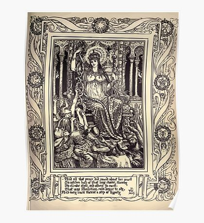Spenser's Faerie queene A poem in six books with the fragment Mutabilitie Ed by Thomas J Wise, pictured by Walter Crane 1895 V2 171 - And all that Prence Did Round Her Dwell Poster