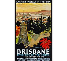 Vintage Brisbane Travel Poster Photographic Print