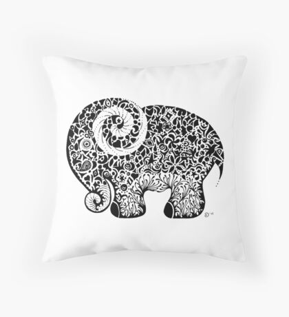 Elephant Doodle Throw Pillow