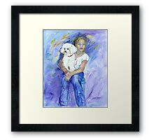 Kelsey and her new dog Mimi Framed Print